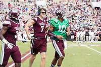 Nick Fitzgerald congratulating Keytaon Thompson on a touchdown.<br />  (photo by Beth Wynn / &copy; Mississippi State University)