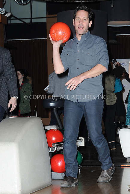 WWW.ACEPIXS.COM<br /> January 12, 2015 New York City<br /> <br /> Paul Rudd attends the Third Annual Paul Rudd All-Star Bowling Benefit for The Stuttering Association for the Young (SAY) at Lucky Strike Lanes &amp; Lounge on January 12, 2015 in New York City.<br /> <br /> Please byline: Kristin Callahan/AcePictures<br /> <br /> ACEPIXS.COM<br /> <br /> Tel: (212) 243 8787 or (646) 769 0430<br /> e-mail: info@acepixs.com<br /> web: http://www.acepixs.com