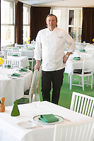 The owner and chef of the Ulriksdals Wärdshus restaurant Gunnar Ström in the main dining room facing the palace. Strom Ulriksdal Ulriksdals Wärdshus Värdshus Wardshus Vardshus Restaurant, Stockholm, Sweden, Sverige, Europe