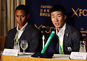 August 29, 2016, Tokyo, Japan - Japanese 4 x 100m relay team member Yoshihide Kiryu (R) speaks while Aska Cambridge looks on at a press conference in Tokyo on Monday, August 29, 2016. Japanese relay team won the first silver medal at the Rio de Janeiro Olympic Games.    (Photo by Yoshio Tsunoda/AFLO) LWX -ytd-