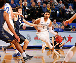 BROOKINGS, SD - NOVEMBER 1: Skyler Flatten #1 from South Dakota State University gets a step past Jake Heath #5 from South Dakota School of Mines during their exhibition game Thursday night at Frost Arena in Brookings. (Photo by Dave Eggen/Inertia)