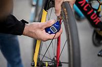 checking the pressure on Oliver Naesen's (BEL/AG2R-LaMondiale) bike pre-race<br /> <br /> Binche-Chimay-Binche 2017 (BEL) 197km<br /> 'M&eacute;morial Frank Vandenbroucke'