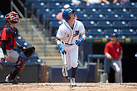 Jake Cronenworth (1) of the Durham Bulls starts down the first base line against the Columbus Clippers at Durham Bulls Athletic Park on June 1, 2019 in Durham, North Carolina. The Bulls defeated the Clippers 11-5 in game one of a doubleheader. (Brian Westerholt/Four Seam Images)