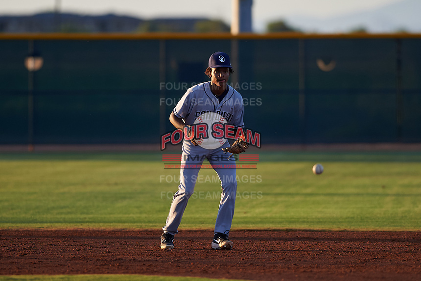 AZL Padres 1 shortstop CJ Abrams (8) during an Arizona League game against the AZL Indians Red on June 23, 2019 at the Cleveland Indians Training Complex in Goodyear, Arizona. AZL Indians Red defeated the AZL Padres 1 3-2. (Zachary Lucy/Four Seam Images)