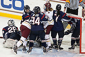 Elaine Chuli (UConn - 29), Brittany Berisoff (UConn - 11), Meghan Grieves (BC - 17), Leah Buress (UConn - 94), Lexi Bender (BC - 21), Leah Lum (UConn - 7) - The Boston College Eagles defeated the visiting UConn Huskies 4-0 on Friday, October 30, 2015, at Kelley Rink in Conte Forum in Chestnut Hill, Massachusetts.