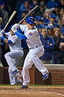 Chicago Cubs Willson Contreras (40) bats in the sixth inning during Game 4 of the Major League Baseball World Series against the Cleveland Indians on October 29, 2016 at Wrigley Field in Chicago, Illinois.  (Mike Janes/Four Seam Images)