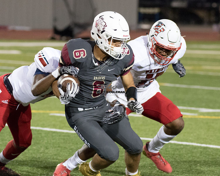 Rouse Raiders junior running back Tavian Tate (6) carries the ball during a high school football game between the Rouse Raiders and the East View Patriots at A.C. Bible Stadium in Leander, Texas, on Friday, September 15, 2017.