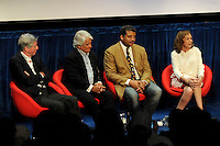 BEVERLY HILLS, CA - AUGUST 3: (L-R) Alan Silvestri, Mitchell Cannold, Neil DeGrasse Tyson, and Ann Druyan during the Q&A panel at the Fox And National Geographic Channel Presents A Screening Of 'Cosmos: A Spacetime Odyssey' at The Paley Center for Media on August 3, 2014 in Beverly Hills, California. PGFM/Starlitepics