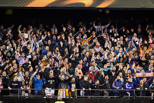 18.02.2016. Mestalla Stadium, Valencia, Spain. Europa League. Valencia versus Rapid Wien. Valencia supporters get animated as their side controls play