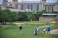 Keegan Bradley (USA) hits his approach shot on 15 during Round 2 of the Valero Texas Open, AT&T Oaks Course, TPC San Antonio, San Antonio, Texas, USA. 4/20/2018.<br /> Picture: Golffile | Ken Murray<br /> <br /> <br /> All photo usage must carry mandatory copyright credit (© Golffile | Ken Murray)