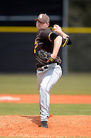 St. Bonaventure Bonnies pitcher Bo Watson #32 during a game against the South Dakota State Jackrabbits at North Charlotte Regional Park on February 23, 2013 in Port Charlotte, Florida.  South Dakota State defeated St. Bonaventure 10-5.  (Mike Janes/Four Seam Images)