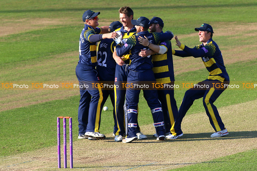 Glamorgan players celebrate victory during Glamorgan vs Essex Eagles, Royal London One-Day Cup Cricket at the SSE SWALEC Stadium on 7th May 2017