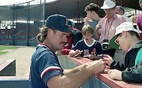 Boston Red Sox Wade Boggs (26) signs autographs during spring training circa 1992 at Chain of Lakes Park in Winter Haven, Florida.  (MJA/Four Seam Images)