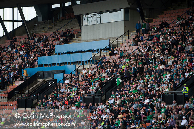 The crowd watching the action from the grandstand as Edinburgh City take on Scottish Cup winners Hibernian a pre-season friendly at Meadowbank Stadium. The match was City's first at the Commonwealth Stadium since they gained promotion from the Lowland League to the Scottish League in May 2016. A record crowd for a City match of 2500 spectators saw the visitors run out 6-1 winners.