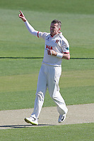 Peter Siddle of Essex celebrates taking the wicket of Matthew Carter during Essex CCC vs Nottinghamshire CCC, Specsavers County Championship Division 1 Cricket at The Cloudfm County Ground on 14th May 2019