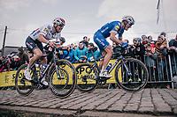 teammates Philippe Gilbert (BEL/Quick Step floors) &amp; Zdenek Stybar (CZE/Quick-Step Floors) up the last ascent of the Paterberg<br /> <br /> 102nd Ronde van Vlaanderen 2018 (1.UWT)<br /> Antwerpen - Oudenaarde (BEL): 265km