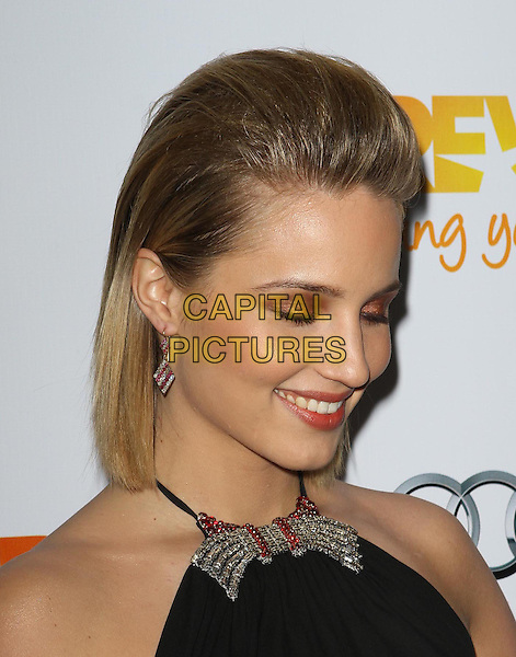 Dianna Agron.Trevor Live at The Hollywood Palladium in Hollywood, California, USA..December 4th, 2011.headshot portrait black sleeveless halterneck diamonds silver bow collar detail eyeshadow make-up beauty looking down smiling eyes closed .CAP/ADM/KB.©Kevan Brooks/AdMedia/Capital Pictures.