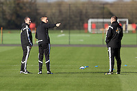 Pictured L-R: Kristian O'Leary with manager Garry Monk and Johnny Northeast Wednesday 05 November 2014<br /> Re: Swansea City FC players training at Fairwood training ground, ahead of their Premier League game against Arsenal on Sunday.