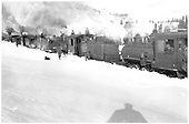 Five light engines bucking snow.<br /> D&amp;RGW