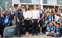 16 June 2017 - Princess Kate, Duchess of Cambridge, Patron of the 1851 Trust, Patron of the 1851 Trust, with Keith Mills poses with children for a group photo at the charity's final Land Rover BAR Roadshow at the Docklands Sailing and Watersports Centre in London. Photo Credit: ALPR/AdMedia