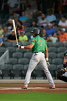 Down East Wood Ducks Bubba Thompson (1) at bat during a Carolina League game against the Fayetteville Woodpeckers on August 13, 2019 at SEGRA Stadium in Fayetteville, North Carolina.  Fayetteville defeated Down East 5-3.  (Mike Janes/Four Seam Images)