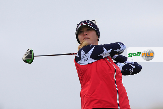 Jessica Korda of Team USA on the 9th tee during Day 2 Foursomes at the Solheim Cup 2019, Gleneagles Golf CLub, Auchterarder, Perthshire, Scotland. 14/09/2019.<br /> Picture Thos Caffrey / Golffile.ie<br /> <br /> All photo usage must carry mandatory copyright credit (© Golffile | Thos Caffrey)