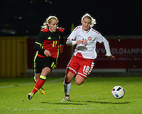 20161128 - TUBIZE ,  BELGIUM : Belgian Janice Cayman (L) and Danish Mie Leth Jans (R) pictured during the female soccer game between the Belgian Red Flames and Denmark , a friendly game before the European Championship in The Netherlands 2017  , Monday 28 th November 2016 at Stade Leburton in Tubize , Belgium. PHOTO SPORTPIX.BE | DIRK VUYLSTEKE