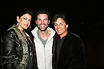 Julie Pinson and Billy Warlock pose with Austin Peck - As The World Turns and Days of our Lives who stars in the off Broadway play Irish Curse at the SoHo Playhouse, New York City, New York on April 16, 2010. (Photos by Sue Coflin/Max Photos)