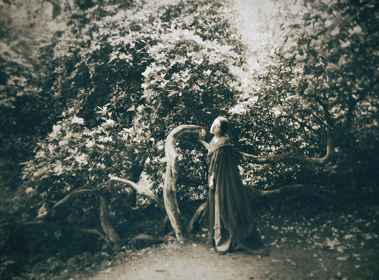 A woman in a victorian hooded cape, standing by a tree in a garden.