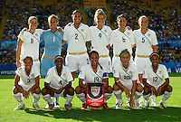 Team USA with Rachel Quon, Crystal Dunn, Sydney Leroux, Amber Brooks and Zakiya Bywaters (Frontline, L-R) und Christine Nairn, Bianca Henninger, Toni Pressley, Kristie Mewis, Vicki DiMartino and Kendall Johnson (Backline, L-R) during the FIFA U20 Women's World Cup at the Rudolf Harbig Stadium in Dresden, Germany on July 14th, 2010.