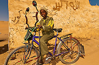 Boy with bicycle, Nubian village near Aswan, Egypt