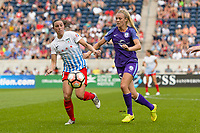 Bridgeview, IL - Saturday July 22, 2017: Vanessa DiBernardo, Rachel Hill during a regular season National Women's Soccer League (NWSL) match between the Chicago Red Stars and the Orlando Pride at Toyota Park. The Red Stars won 2-1.