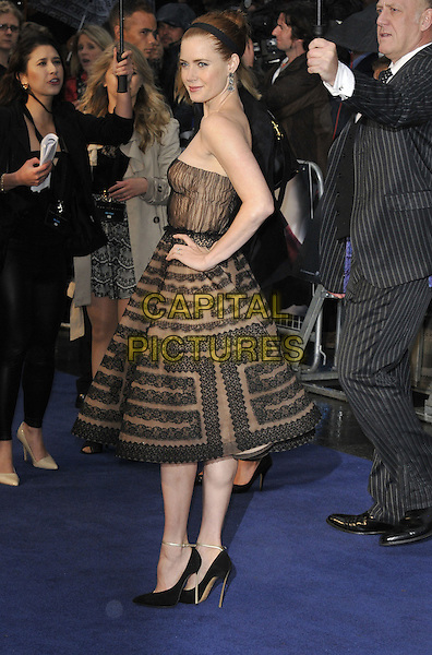 Amy Adams<br /> 'Man Of Steel' UK film premiere, Empire cinema, Leicester Square, London, England.<br /> 12th June 2013<br /> full length beige black strapless dress pattern alice band brown lace side<br /> CAP/DS<br /> &copy;Dudley Smith/Capital Pictures