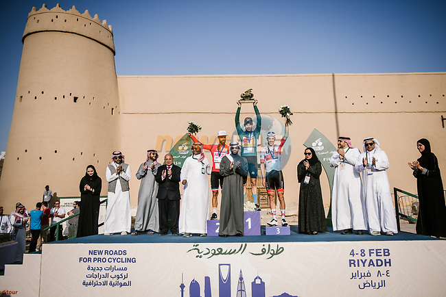 The final podium centre Phil Bauhaus (GER) Bahrain-Mclaren wins the overall general classification, left Nacer Bouhanni (FRA) Team Arkea Samsic and right Rui Costa (POR) UAE Team Emirates at the end of Stage 5 of the Saudi Tour 2020 running 144km from Princess Nourah University to Al Masmak, Saudi Arabia. 8th February 2020.<br /> Picture: ASO/Pauline Ballet | Cyclefile<br /> All photos usage must carry mandatory copyright credit (© Cyclefile | ASO/Pauline Ballet)