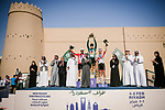 The final podium centre Phil Bauhaus (GER) Bahrain-Mclaren wins the overall general classification, left Nacer Bouhanni (FRA) Team Arkea Samsic and right Rui Costa (POR) UAE Team Emirates at the end of Stage 5 of the Saudi Tour 2020 running 144km from Princess Nourah University to Al Masmak, Saudi Arabia. 8th February 2020.<br /> Picture: ASO/Pauline Ballet   Cyclefile<br /> All photos usage must carry mandatory copyright credit (© Cyclefile   ASO/Pauline Ballet)