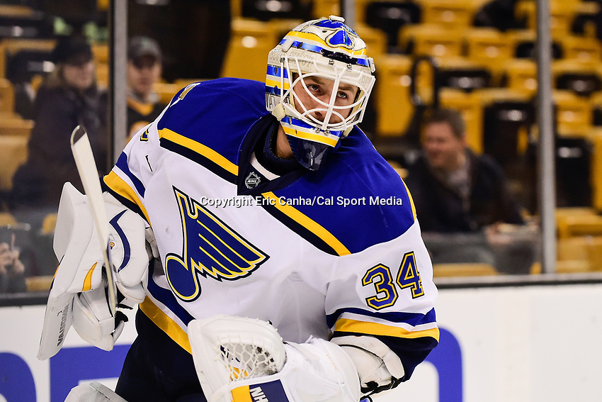 Tuesday, November 22, 2016: St. Louis Blues goalie Jake Allen (34) warms up before the National Hockey League game between the St. Louis Blues and the Boston Bruins held at TD Garden, in Boston, Mass. The Blues defeat the Bruins 4-2. Eric Canha/CSM
