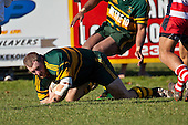 Mark Price dives over to score Pukekohe's first try early in the game. Counties Manukau Premier Club Rugby semi final game between Pukekohe and Karaka, played at Colin Lawrie Fields Pukekohe on Saturday July 10th 2010.Pukekohe won 44 - 20 and will meet Waiuku in next weeks final at Growers Stadium.