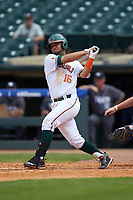 Edgar Michelangeli (16) of the Miami Hurricanes follows through on his swing against the Georgia Tech Yellow Jackets during game one of the 2017 ACC Baseball Championship at Louisville Slugger Field on May 23, 2017 in Louisville, Kentucky. The Hurricanes walked-off the Yellow Jackets 6-5 in 13 innings. (Brian Westerholt/Four Seam Images)