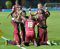 IBAGUE -COLOMBIA, 7-10-2017.Marco Pérez jugador del Deportes Tolima celebra su gol contra el Independiente Medellín   durante encuentro  por la fecha 14 de la Aguila II 2017 disputado en el estadio Manuel  Murillo Toro./ Marco Perez player of Deportes Tolima  celebrates his goal agaisnt  of Independiente Medellin   during match for the dat 14 of the Aguila League II 2017 played at Manuel Murillo Toro stadium. Photo:VizzorImage / Juan Carlos Escobar  / Contribuidor