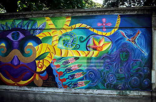 Sao Paulo, Brazil. Colourful mural on a wall outside the University by Luis Cervantes and others.