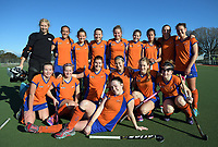 The Tauranga team poses for a group photo after the National Women's Association Under-18 Hockey Tournament 3rd place playoff match between Manawatu and Tauranga at Twin Turfs in Clareville, New Zealand on Saturday, 15 July 2017. Photo: Dave Lintott / lintottphoto.co.nz