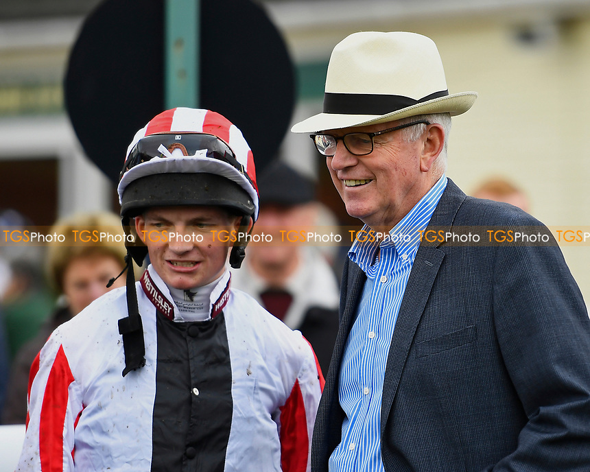 ockey Rob Hornby and trainer of Veejay Mick Shannon in the winners enclosure  during Whitsbury Manor Stud Bibury Cup Day Racing at Salisbury Racecourse on 28th June 2017