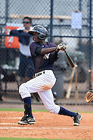 GCL Yankees 1 shortstop Jorge Mateo (11) at bat during the second game of a doubleheader against the GCL Braves on July 1, 2014 at the Yankees Minor League Complex in Tampa, Florida.  GCL Braves defeated the GCL Yankees 1 by a score of 3-1.  (Mike Janes/Four Seam Images)