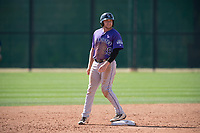 Colorado Rockies outfielder Cole Anderson (28) during a Minor League Spring Training game against the Milwaukee Brewers at Salt River Fields at Talking Stick on March 17, 2018 in Scottsdale, Arizona. (Zachary Lucy/Four Seam Images)