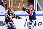 S&ouml;dert&auml;lje 2014-10-23 Ishockey Hockeyallsvenskan S&ouml;dert&auml;lje SK - Malm&ouml; Redhawks :  <br /> S&ouml;dert&auml;ljes Alexander Larsson firar sitt 2-3 m&aring;l med Francois Bouchard under matchen mellan S&ouml;dert&auml;lje SK och Malm&ouml; Redhawks <br /> (Foto: Kenta J&ouml;nsson) Nyckelord: Axa Sports Center Hockey Ishockey S&ouml;dert&auml;lje SK SSK Malm&ouml; Redhawks jubel gl&auml;dje lycka glad happy