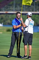A smiling Jon Rahm (ESP) shakes hands with his caddie, Adam Hayes after defeating Charles Howell III (USA) during round 4 of the World Golf Championships, Dell Technologies Match Play, Austin Country Club, Austin, Texas, USA. 3/25/2017.<br /> Picture: Golffile | Ken Murray<br /> <br /> <br /> All photo usage must carry mandatory copyright credit (&copy; Golffile | Ken Murray)