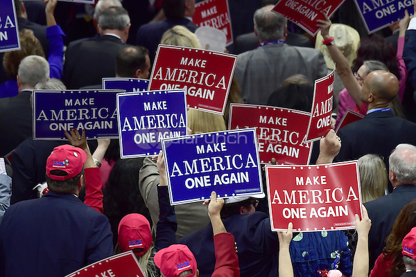 Signs on the floor at the 2016 Republican National Convention held at the Quicken Loans Arena in Cleveland, Ohio on Thursday, July 21, 2016.<br /> Credit: Ron Sachs / CNP/MediaPunch<br /> (RESTRICTION: NO New York or New Jersey Newspapers or newspapers within a 75 mile radius of New York City)