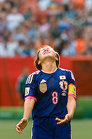 June 23, 2015: Aya MIYAMA of Japan reacts after missing a kick for goal during a round of 16 match between Japan and Netherlands at the FIFA Women's World Cup Canada 2015 at BC Place Stadium on 23 June 2015 in Vancouver, Canada. Japan won 2-1. Sydney Low/AsteriskImages.com