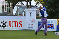 Anthony Kang (USA) on the 1st tee during Round 1 of the UBS Hong Kong Open, at Hong Kong golf club, Fanling, Hong Kong. 23/11/2017<br /> Picture: Golffile | Thos Caffrey<br /> <br /> <br /> All photo usage must carry mandatory copyright credit     (&copy; Golffile | Thos Caffrey)