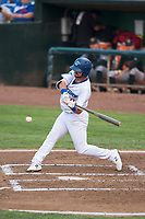Ogden Raptors right fielder Matt Cogen (49) swings at a pitch during a Pioneer League game against the Great Falls Voyagers at Lindquist Field on August 23, 2018 in Ogden, Utah. The Ogden Raptors defeated the Great Falls Voyagers by a score of 8-7. (Zachary Lucy/Four Seam Images)